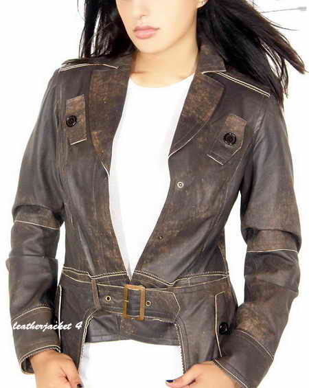 Womens Draped Collar Leather Jacket