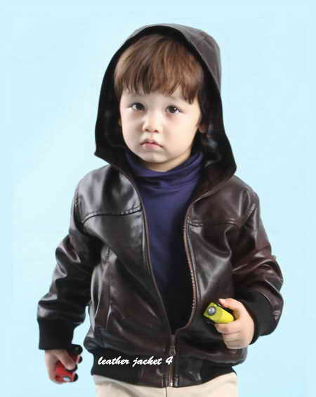 Kids hoodie leather jacket
