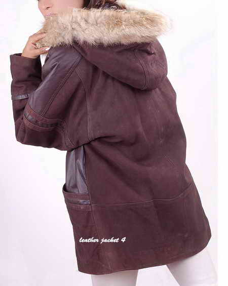 Women Hooded Fur Leather Coat