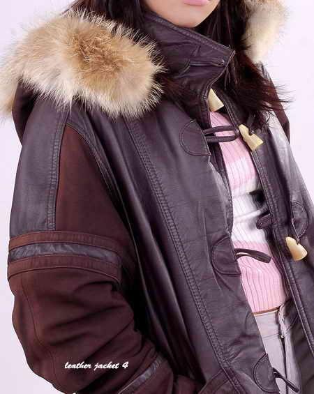 Women Hooded Fur Leather Coat