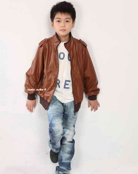 Brown Color Leather Jacket for Boys