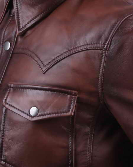 Loose fit Brown Leather Shirt for Men