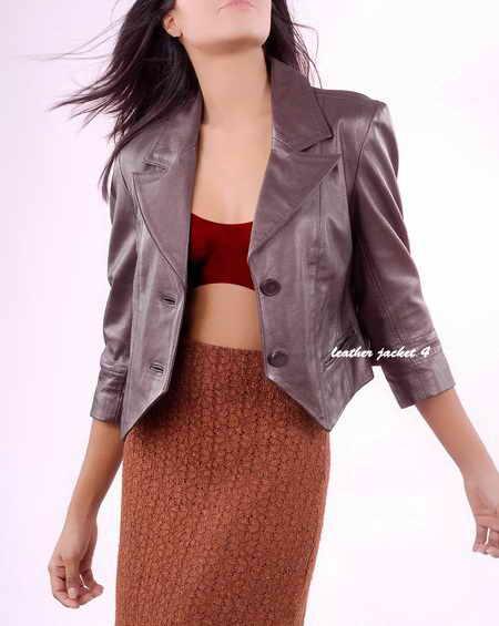 Women Short Leather Blazer