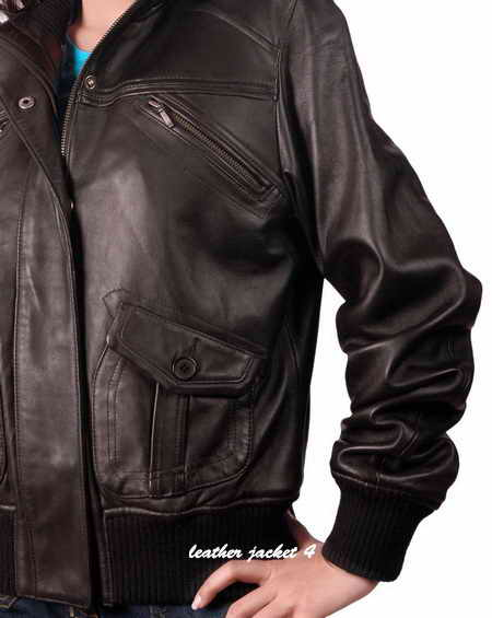 Bomber Leather Jacket for Womens