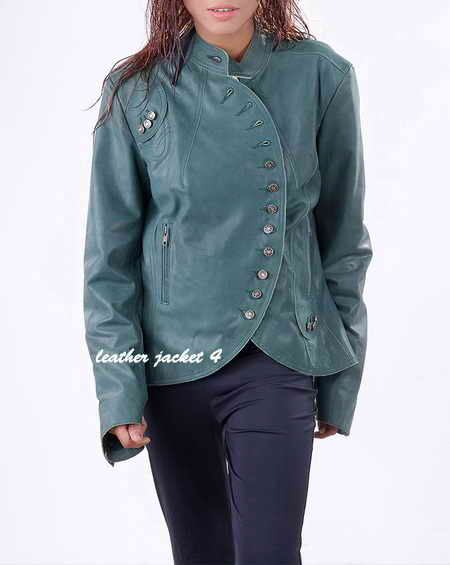 Women Curved Leather Blazer
