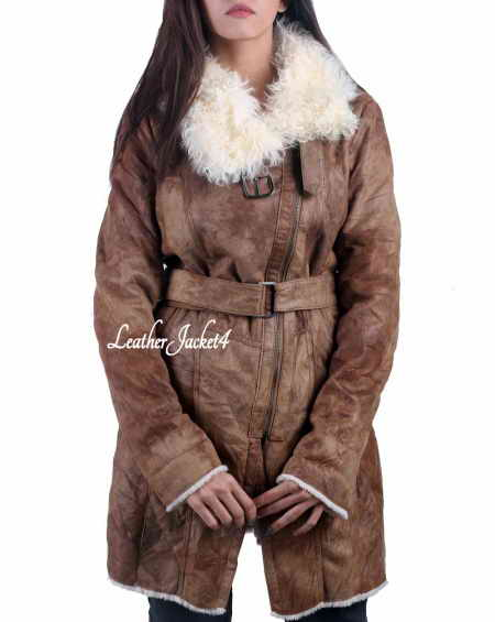 Distress faux fur lamb leather long coat
