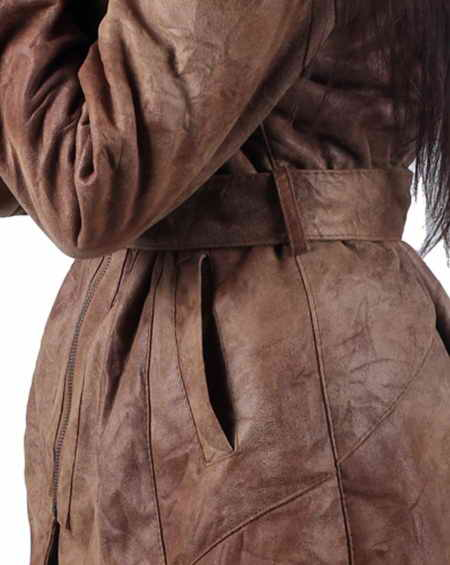 Distress faux fur lamb leather long coat
