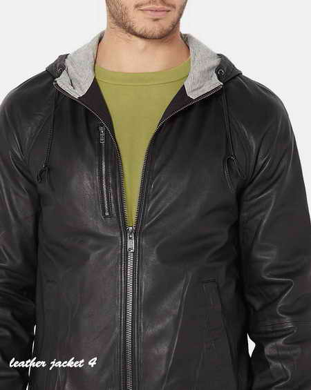 Black Washed Leather Hooded Jacket