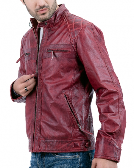 Maroon Biker Cafe Racer Leather Jacket