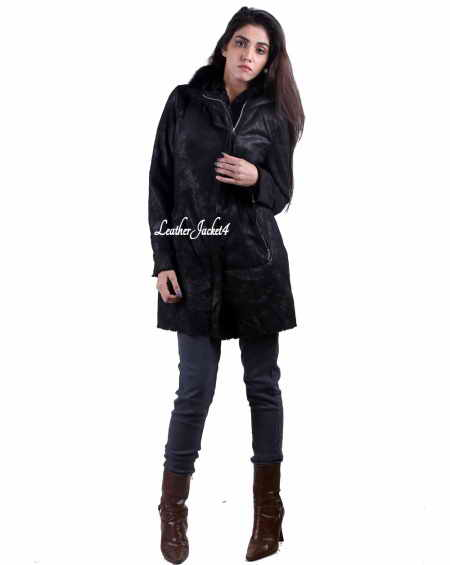 Women long leather hoodie coat