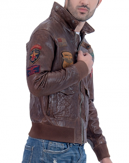 USA Air Force Aviator Mens Bomber Leather Jacket