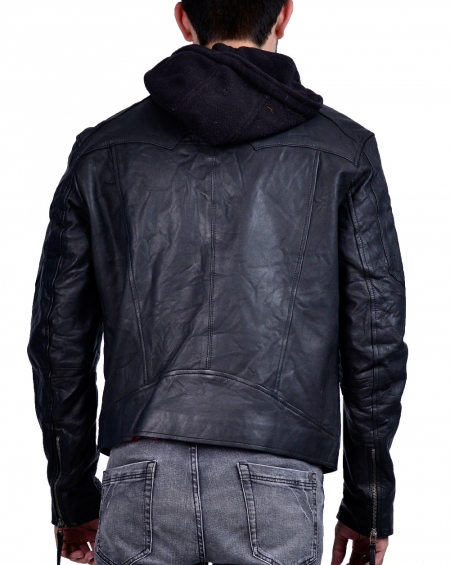 Black Mens Hooded Leather Jacket