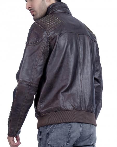 Metal Stud Leather Jacket