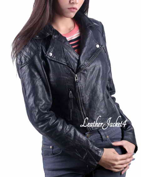 Basic Black Biker Jacket for women