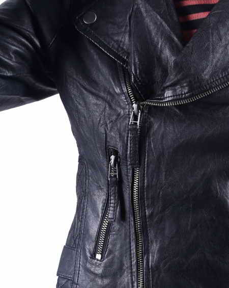 Basic Black Biker Jacket for women