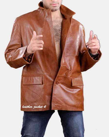 Mens Leather Blazer in Tan