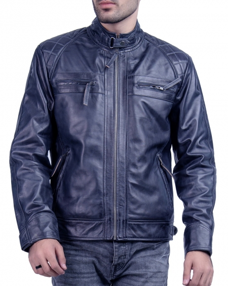 Steel Blue Moto Vintage  Cafe Racer Moto Leather Jacket