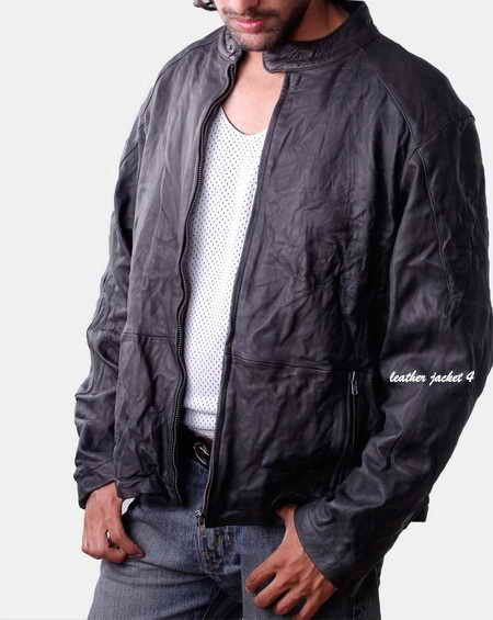 Men Washed Lamb Moto Jacket