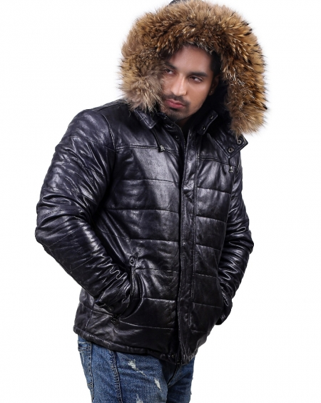 Down Parka Leather Jacket Mens with Removable Hood