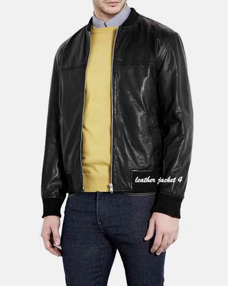Black Washed Leather Bomber Jacket