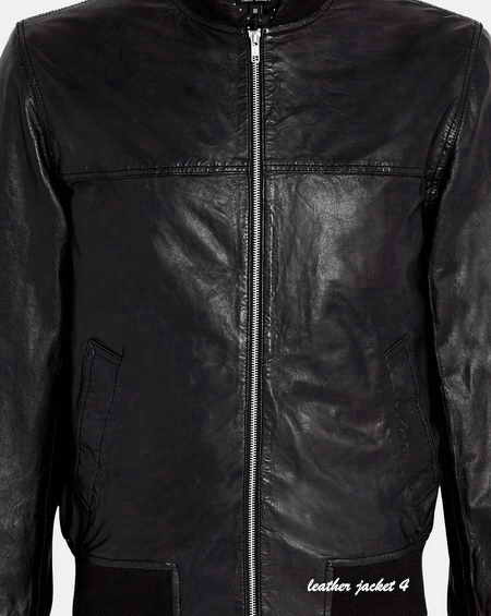 Black Washed Leather Bomber Jacket