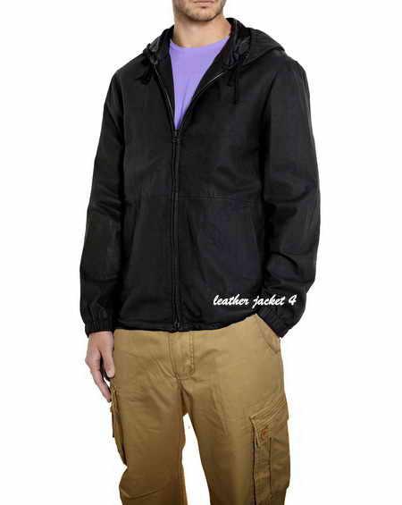 Washed Leather Hooded Jacket