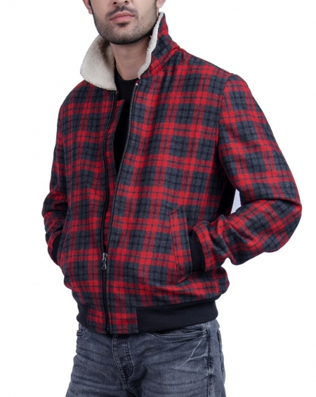 Red Flannel Plaid Jacket Bomber For Mens