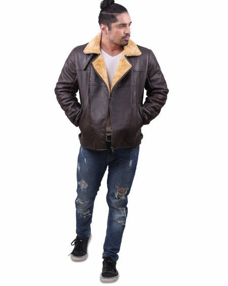 Aviator RAF Faux Fur Shearling Leather Jacket