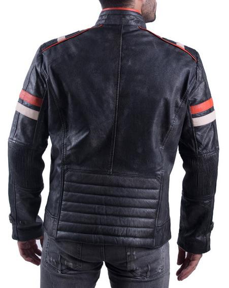 Vintage Retro Motorcycle Jacket Distressed Leather