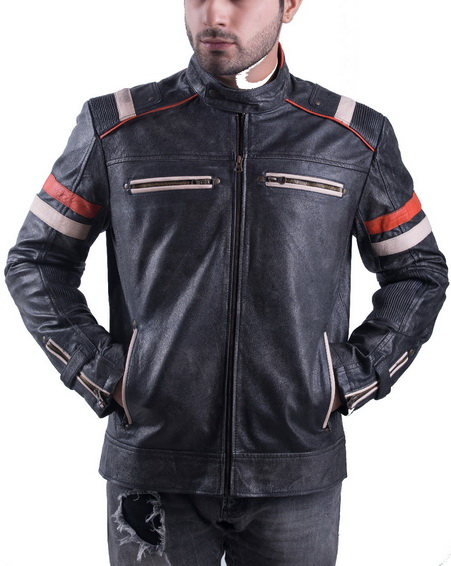 Vintage Retro Motorcycle Jacket Distressed Leather