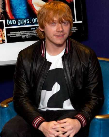 Rupert Grint Black Bomber Leather Jacket