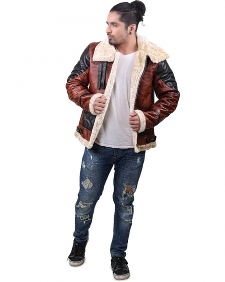 Shearling Aviator Jacket Mens Faux Fur Body Lining