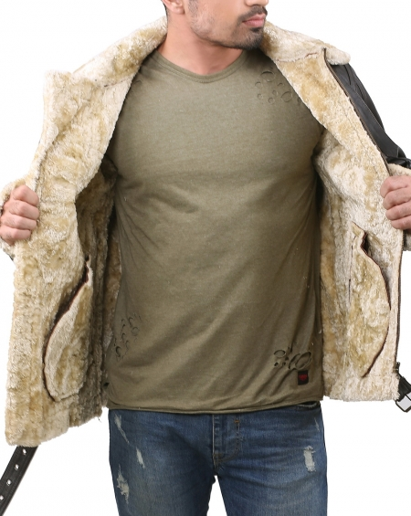 Faux Fur Shearling Leather Jacket