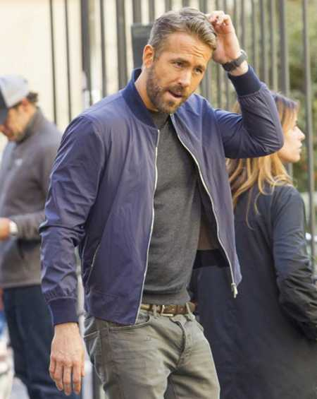 Ryan Reynolds 6 Underground One Blue Bomber Jacket