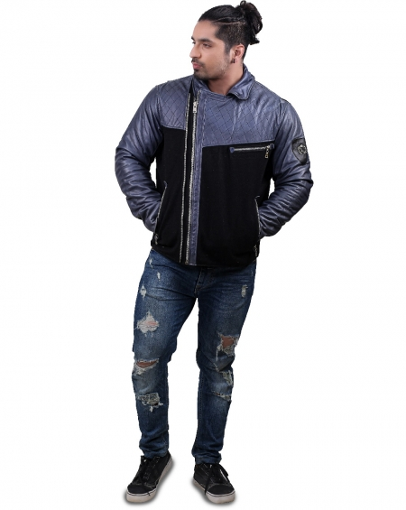 Multicolor Mens Biker Leather Jacket