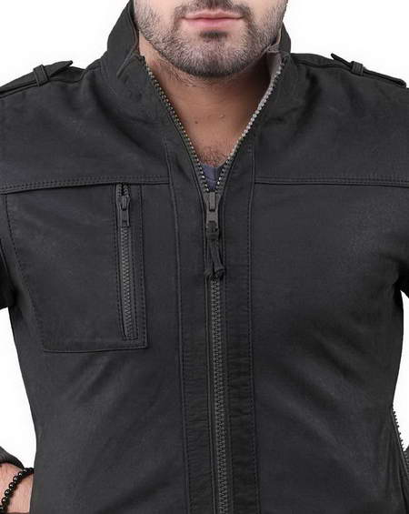 Mens Grey Suede Leather Jacket