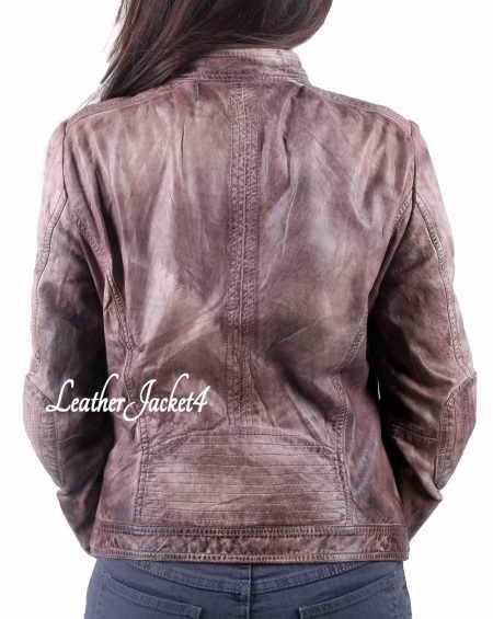 Basic Beige Biker Jacket for women