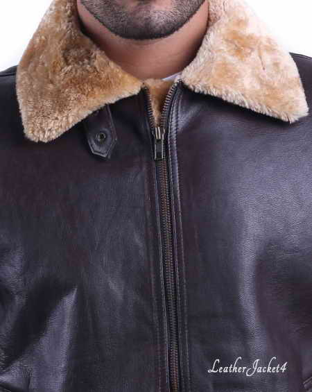 Tom Hardy Dunkirk Farrier Brown Leather Shearling Bomber Jac