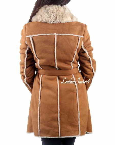 Suede Faux Fur Leather Long Coat