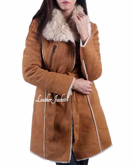 Suede Faux Fur Leather Long Coat