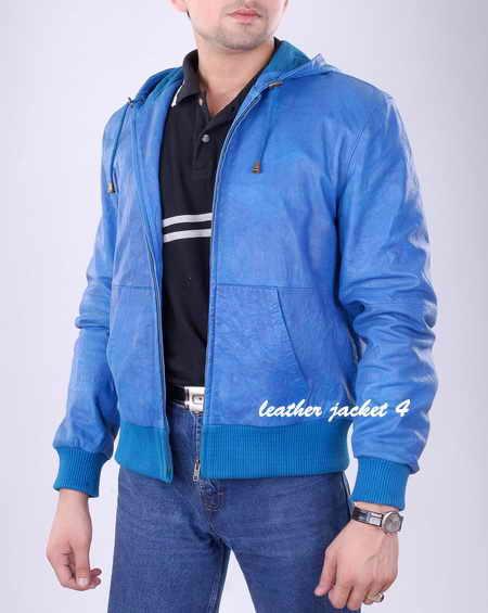 hooded wash mens leather jacket