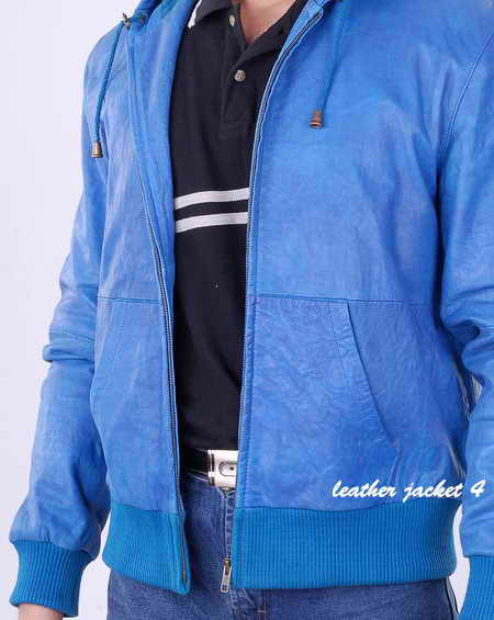 hooded wash mens leather jacket