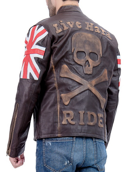 Men Biker Vintage Union Jack Brown Leather Jacket