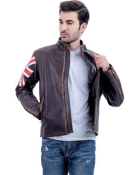 Men Biker Vintage Union Jack Brown Leather Jacket