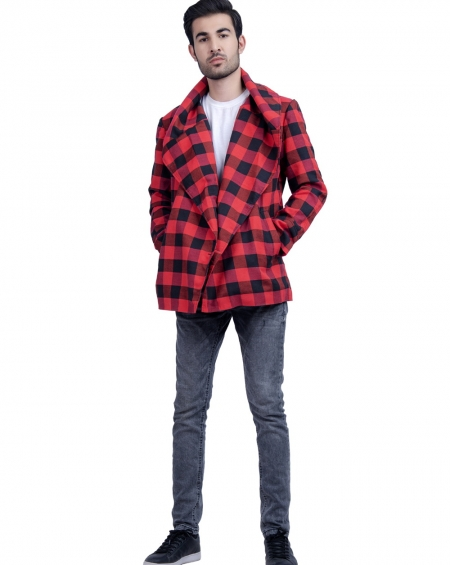 Unisex Blazer Style Plaid Jacket