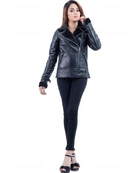 Black Shearling Faux Fur Womens Biker Leather Jacket