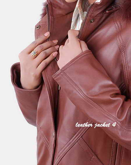 Lambskin Leather Coat with Faux Fur Trim