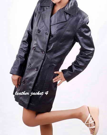 Womens Double Breasted Leather Trench Coat