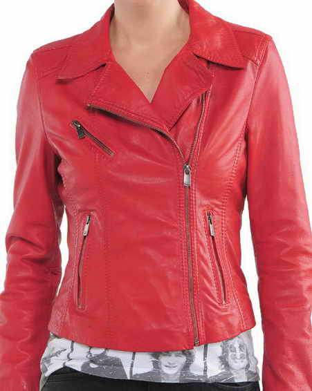 Womens Colored Moto Leather Jacket
