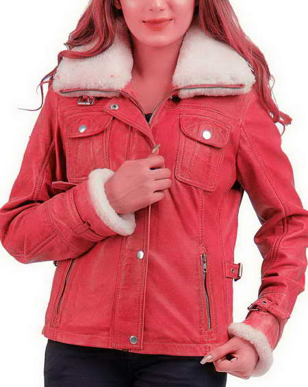 Leona Lewis Faux Fur Lamb Leather Jacket